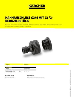 Kärcher Hahnanschluss G3//4 mit G1//2-Reduzierstück  2.645-006.0