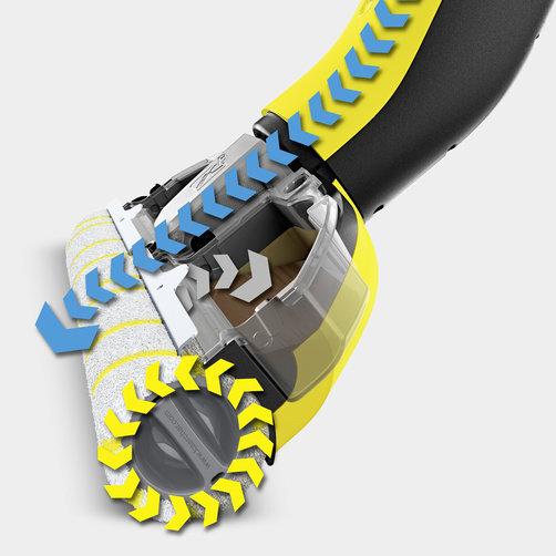 FC 3 sin cable: Los rodillos se humedecen cosntantemente desde el depósito de agua limpia y permanecen limpios gracias a su innovadora función de autolimpieza