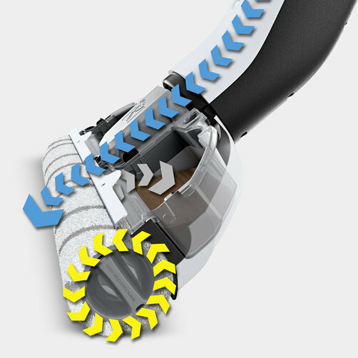Keménypadló tisztító FC 3  Premium akkumulátoros (fehér): A hengerek folyamatos nedvesen tartása a frissvíz tartályból és az innovatív öntisztító funkció