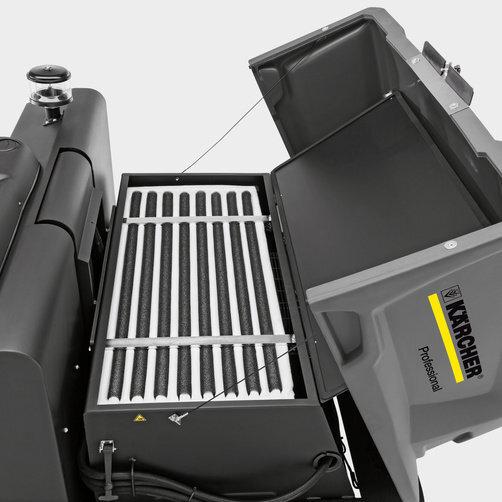 KM 150/500 R D Classic: Amplio filtro de bolsa con motor de vibración
