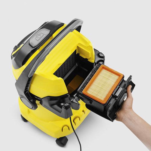 Хозяйственный пылесос WD 5 + фильтр-мешки: Уникальная запатентованная технология съемного фильтра