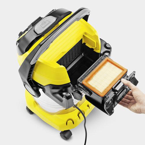 Господарський пилосос WD 6 Premium + насадка-пиловловлювач: Унікальна запатентована технологія знімного фільтра