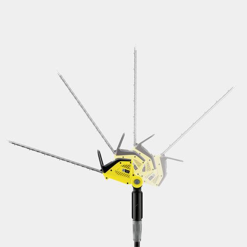 Teleskopické nožnice na živý plot PHG 18-45 Battery: Otáčateľná rezná hlava smožnosťou nastavenia uhla