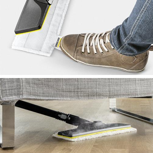 Gőztisztító SC 2 EasyFix Premium (fehér): EasyFix padlótisztító készlet rugalmas csatlakozással a padlófejnél, és kényelmes tépőzáras illesztéssel a padlótisztító törlőkendőhöz