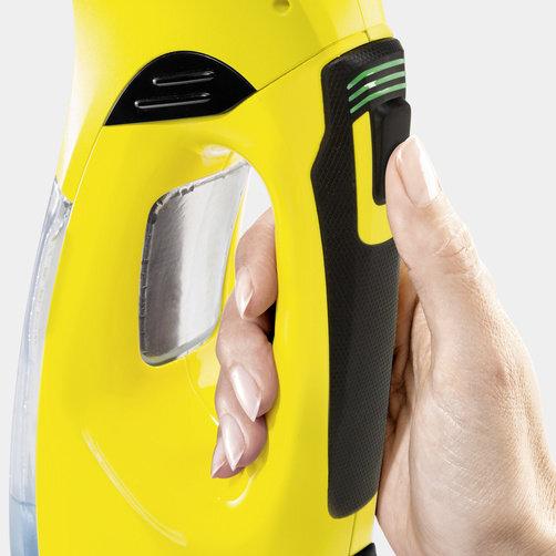 Čistič okien WV 5 Premium Non-Stop Cleaning Kit: Príjemná rúčka s ukazovateľom stavu nabitia batérie