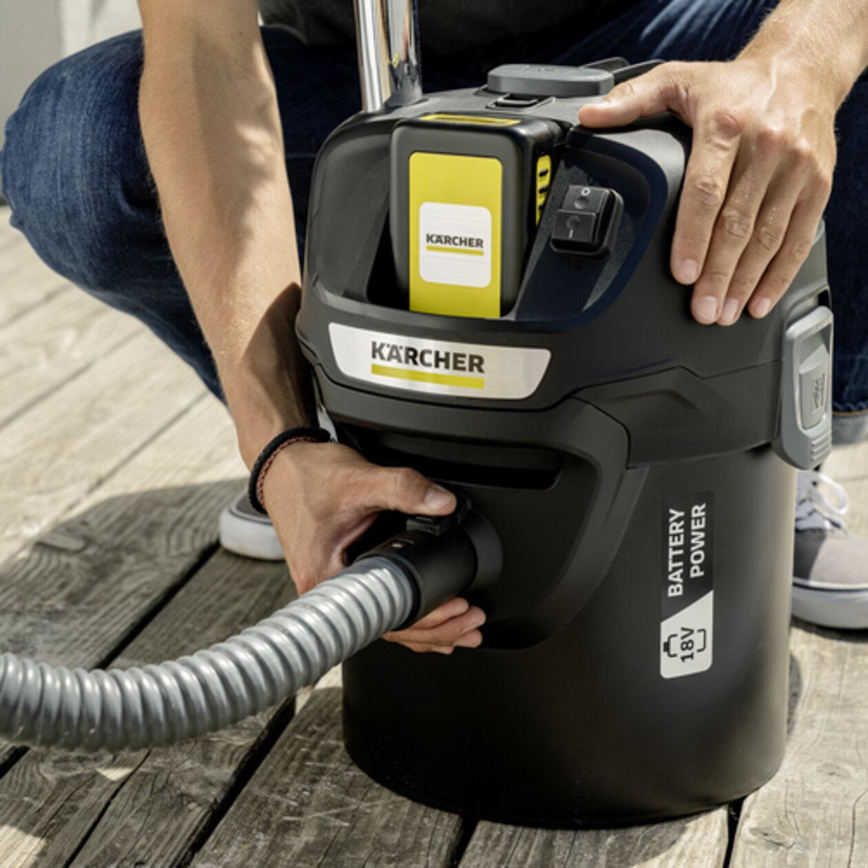 Пылесос для золы AD 2 Battery: Негорючие конструктивные материалы, металлические мусоросборник и шланг (в оболочке)