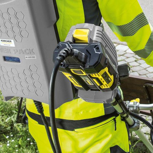 Akumulátorový vyžínač Kaercher ST 400 BP: Plná kompatibilita batérie s všetkými strojmi riešenia Park & City Solutions značky Kärcher