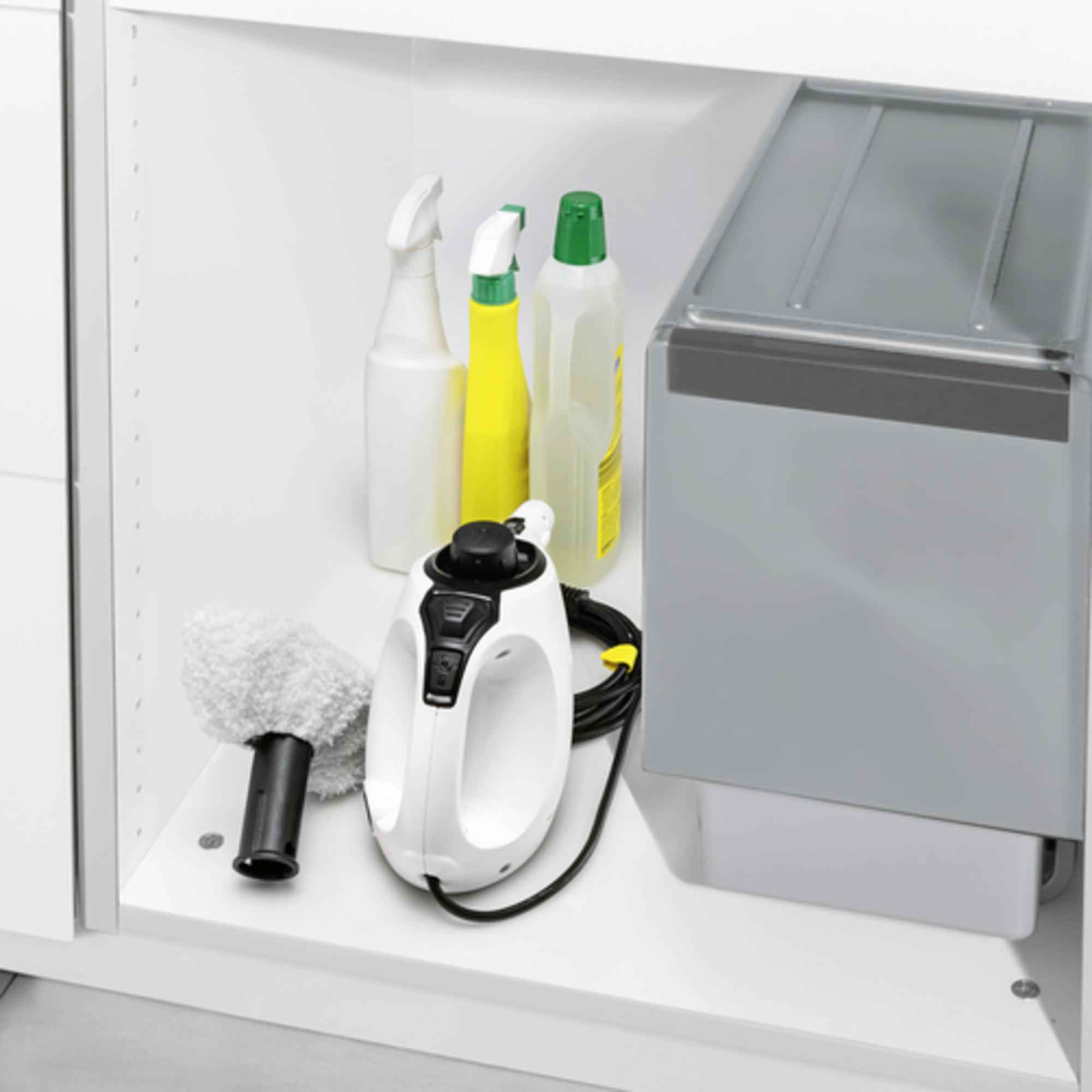 Gőztisztító SC 1 EasyFix Premium (fehér): Kicsi, kézre álló és könnyen tárolható