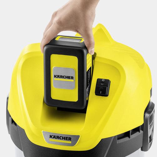 Viacúčelový vysávač Viacúčelový akumulátorový vysávač WD 3 Battery Premium: Vymeniteľné nabíjateľné batérie zo systému batérií Battery Power 36 V