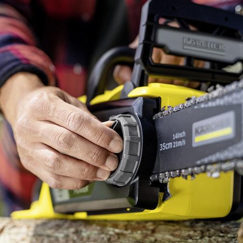 Akukettsaag CSW  36-35 (Ilma aku ja laadijata): Keti pingutamine ilma tööriistadeta