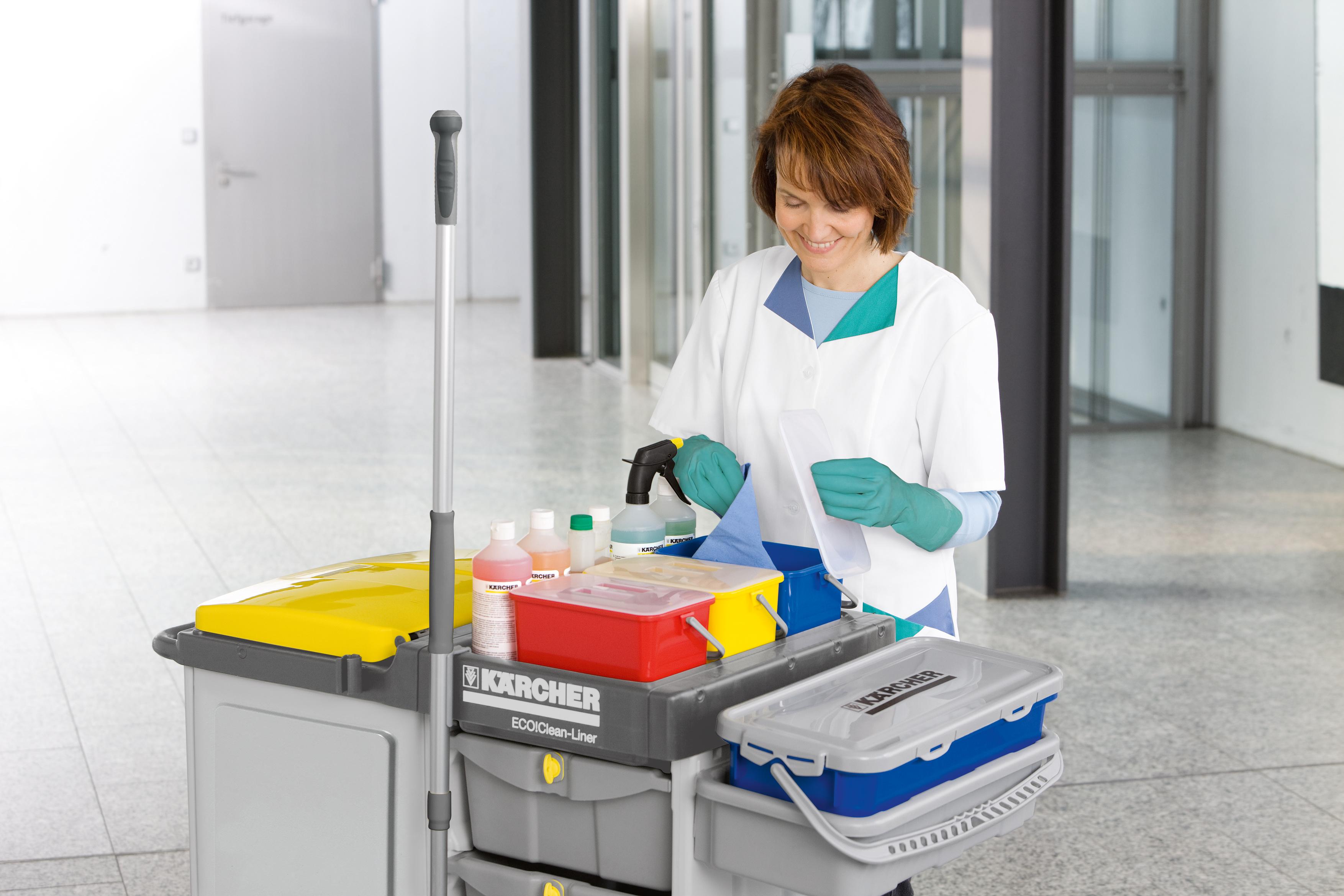 Hygienische Oberflächenreinigung mit dem Vier-Farben-System