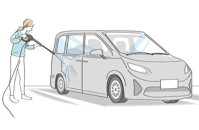 車体横に高圧洗浄機を吹きかけているイラスト