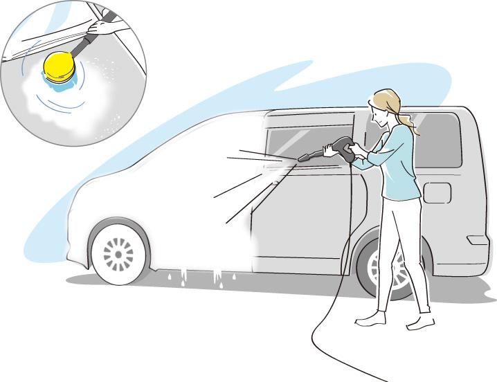 車体の洗浄剤を洗い流しをしているイラスト