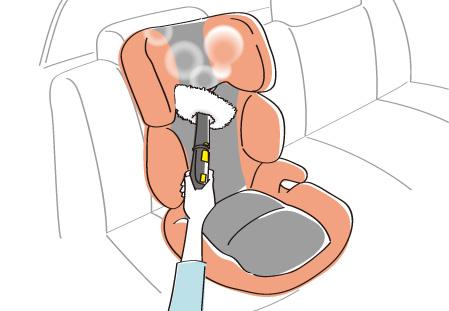 スチームクリーナーを使用して車のシートを掃除しているイラスト