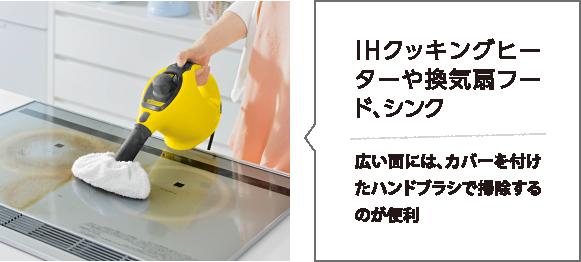IHクッキングヒーターや換気扇フード、シンク 広い面には、カバーを付けたハンドブラシで掃除するのが便利