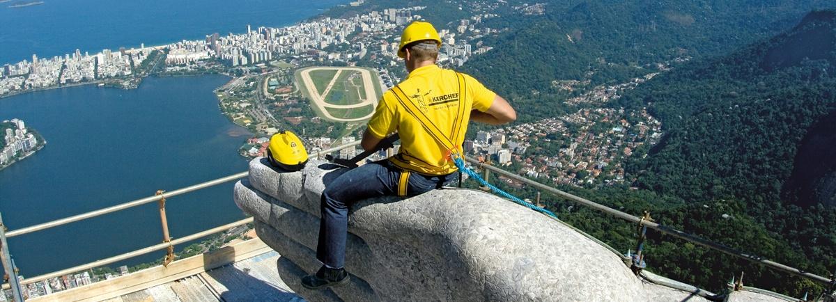 Christusstatue Rio De Janeiro Brasilien Kärcher