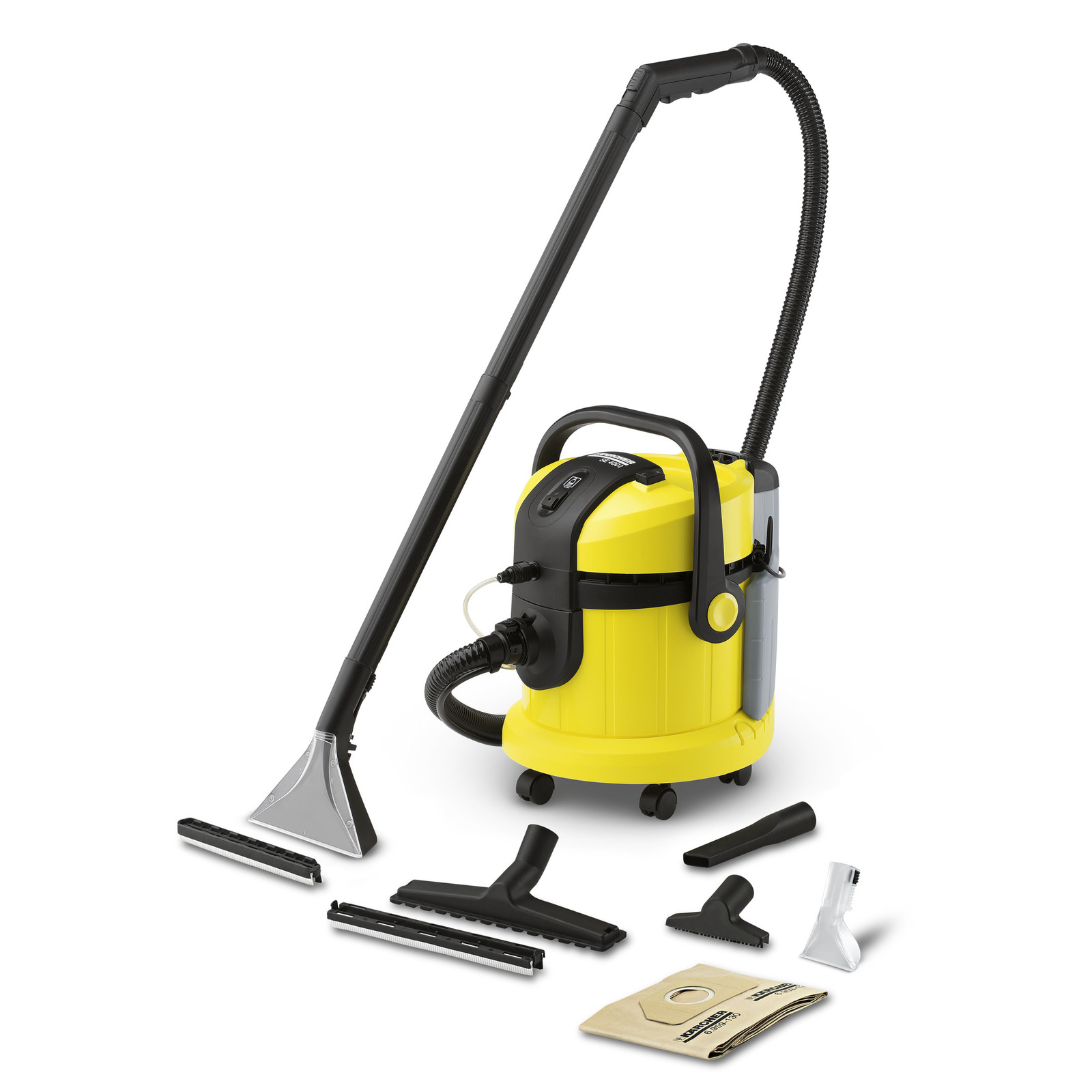 Includes 2-in-1 comfort system with integrated spray vacuum hose and spray extraction nozzle for upholstery cleaning.