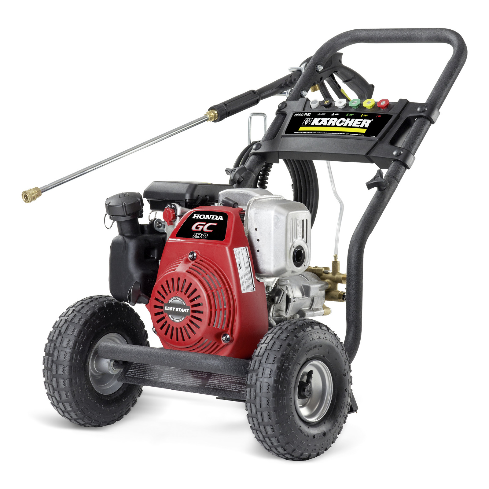 Features Include A Honda GC190 Engine, Quick Connect High Pressure Hose And  Pneumatics Tires With Metal Wheel Rims.