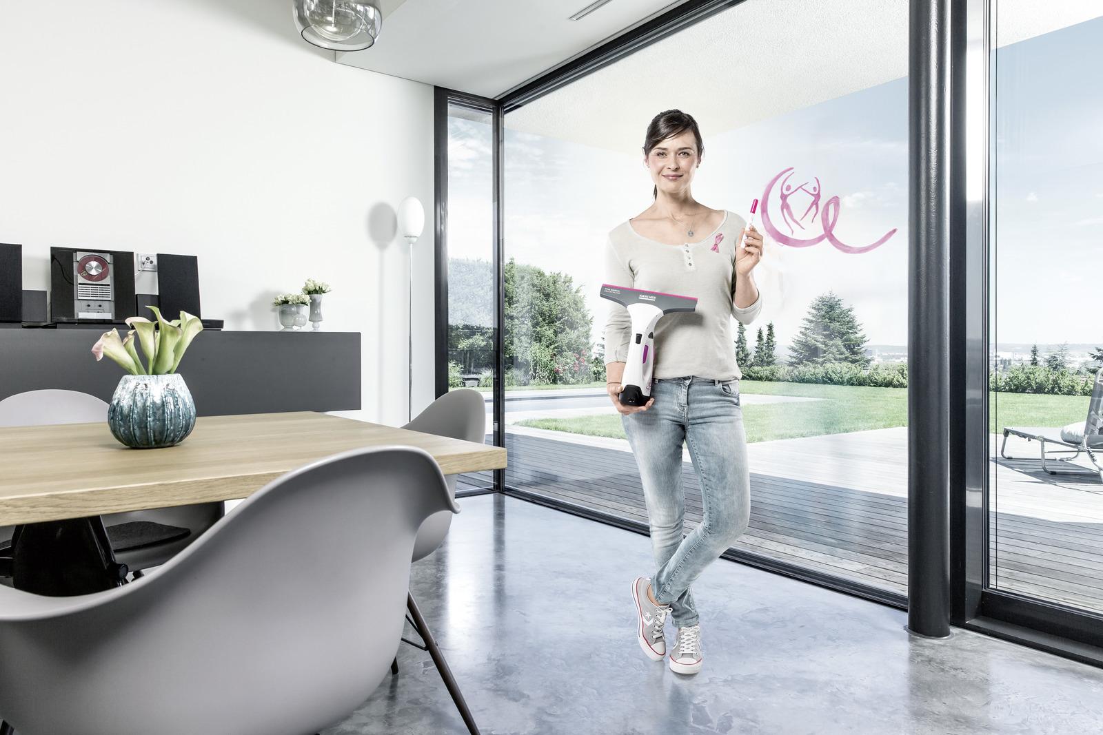 akku fenstersauger wv 2 premium pink ribbon k rcher. Black Bedroom Furniture Sets. Home Design Ideas