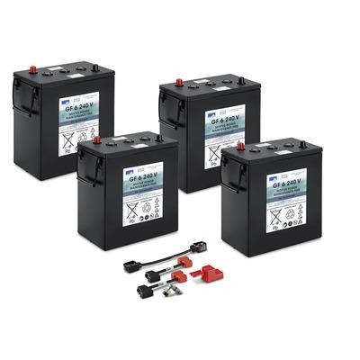 Conjunto de baterias, 24 V, 240 Ah, não precisa de manutenção